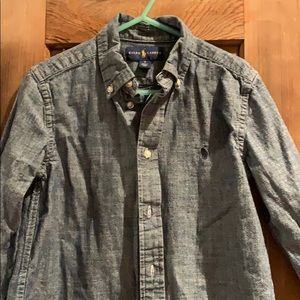 Little boys long sleeve denim button down